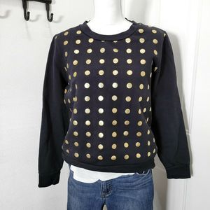 Kate Spade Sweater Black Gold Polk a Dot Sz Large